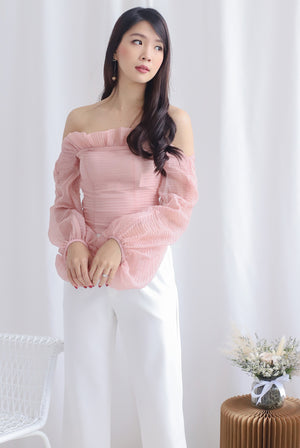 *Premium* Narelle Pleated Off Shoulder Top In Blush