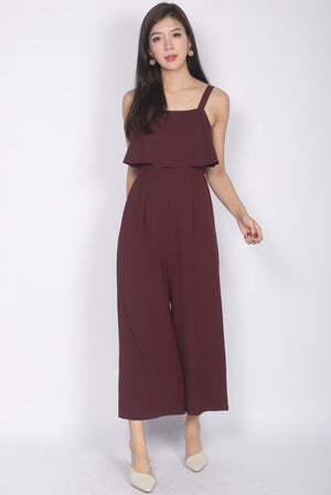 Nattei Tiered Jumpsuit In Wine Red