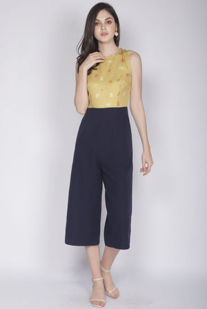 Nialla Orange Oriental Collar Jumpsuit In Mustard