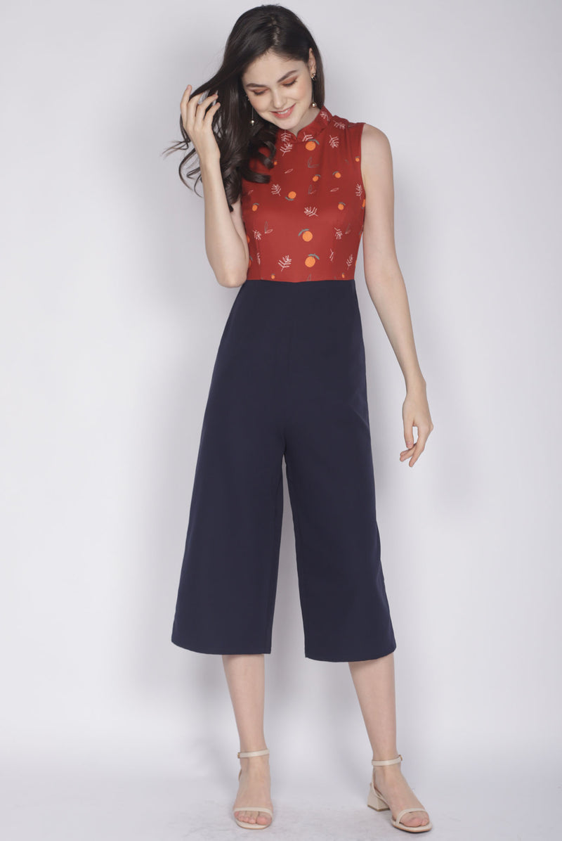 Nialla Orange Oriental Collar Jumpsuit In Rust