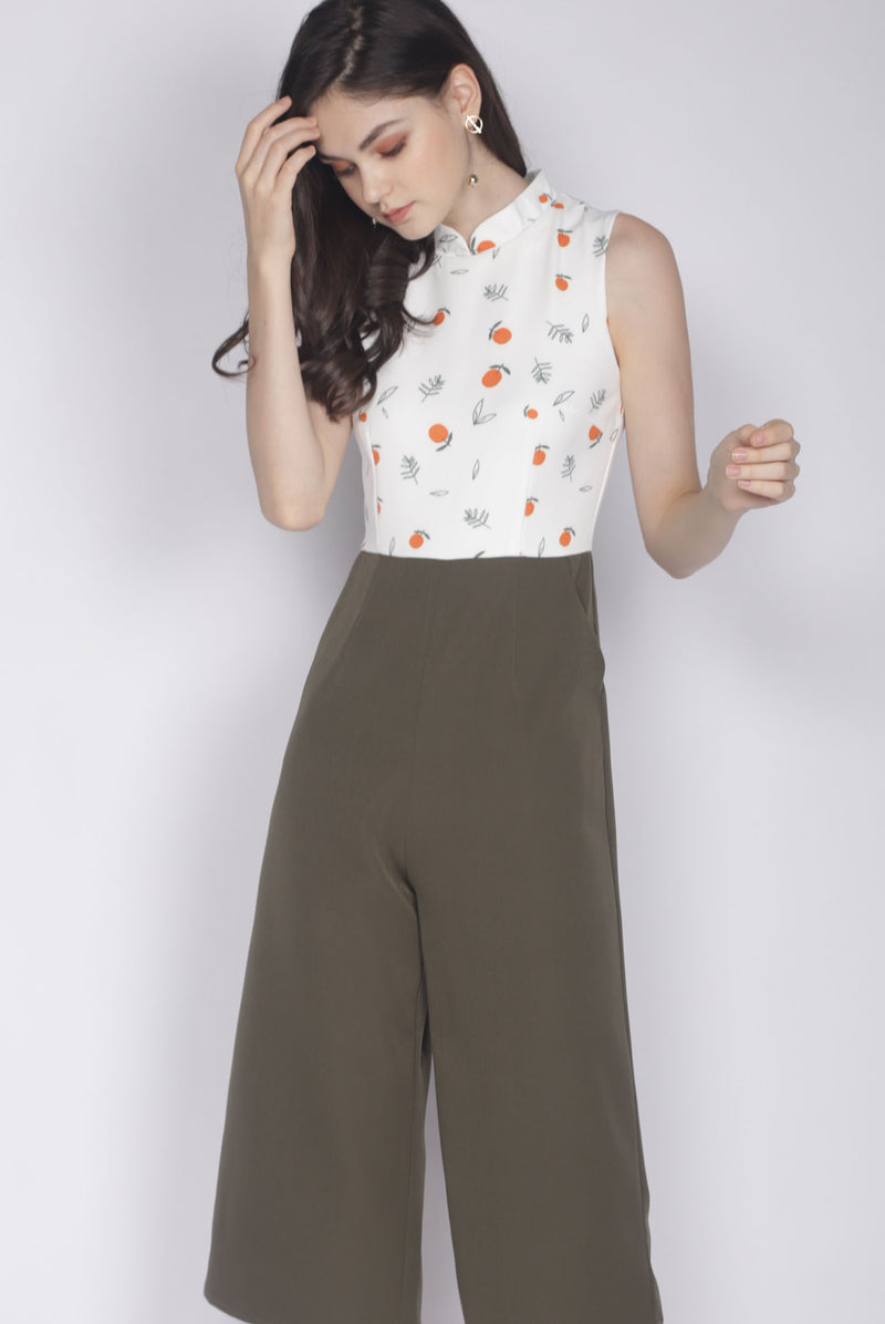 Nialla Orange Oriental Collar Jumpsuit In White