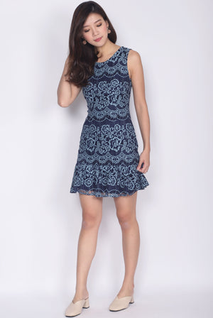 Nieva Lace Drop Waist Dress In Navy Blue