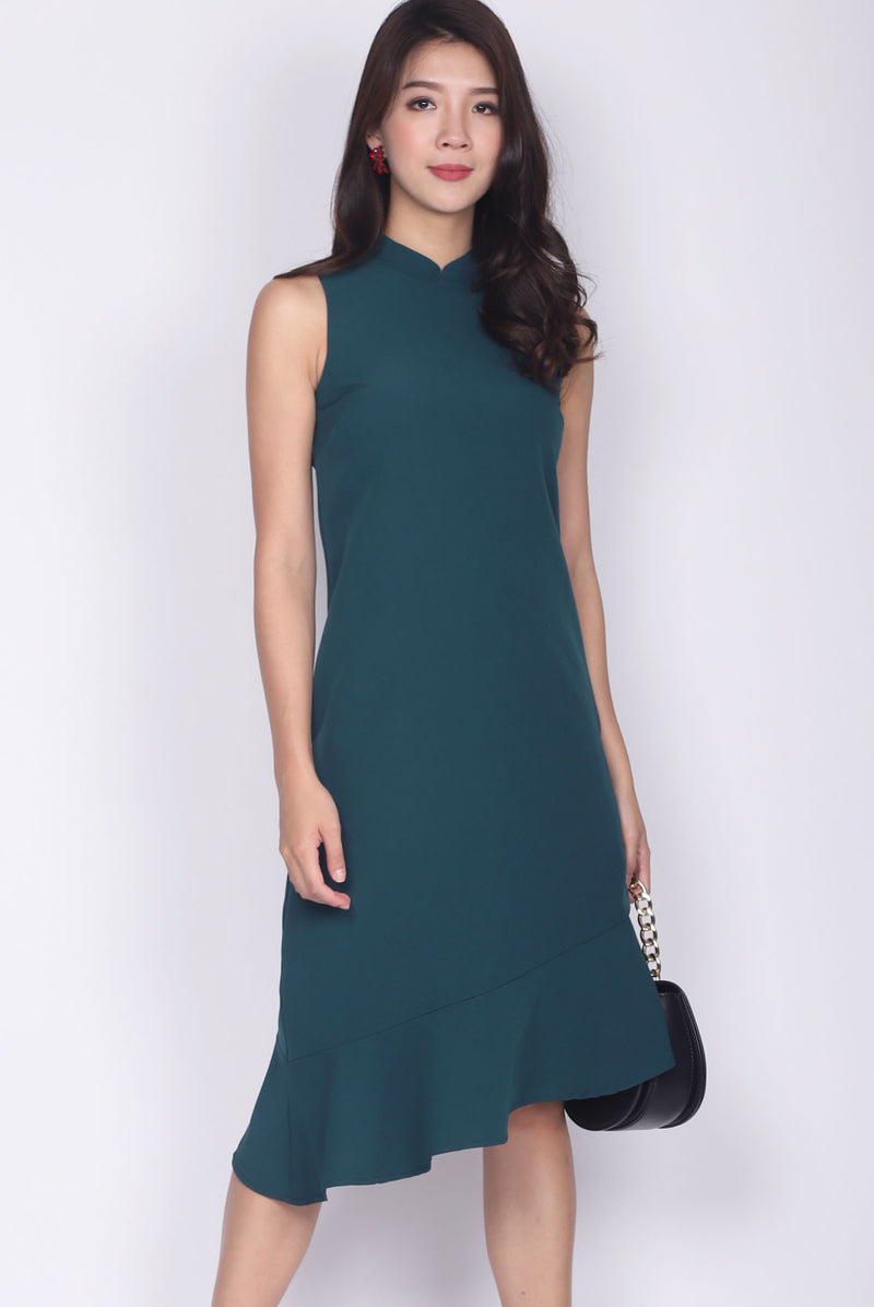 Ninel Removable Cheong Sam Collar Asymm Dress In Forest Green