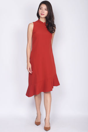 Ninel Removable Cheong Sam Collar Asymm Dress In Rust