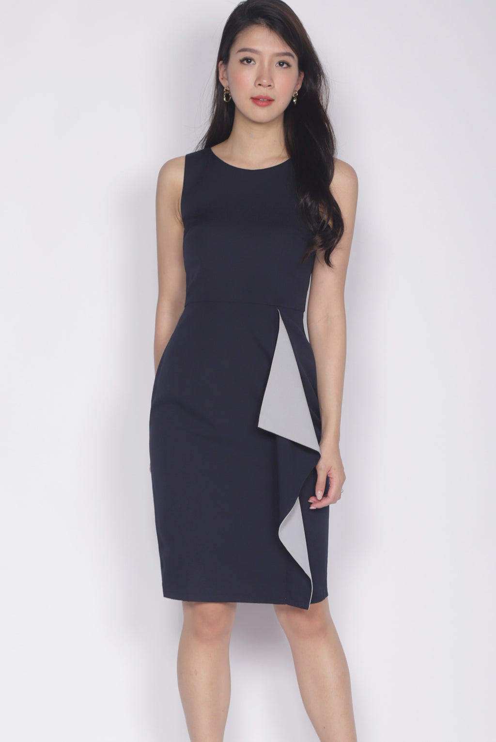 Ninette Waterfall Work Dress In Navy Blue