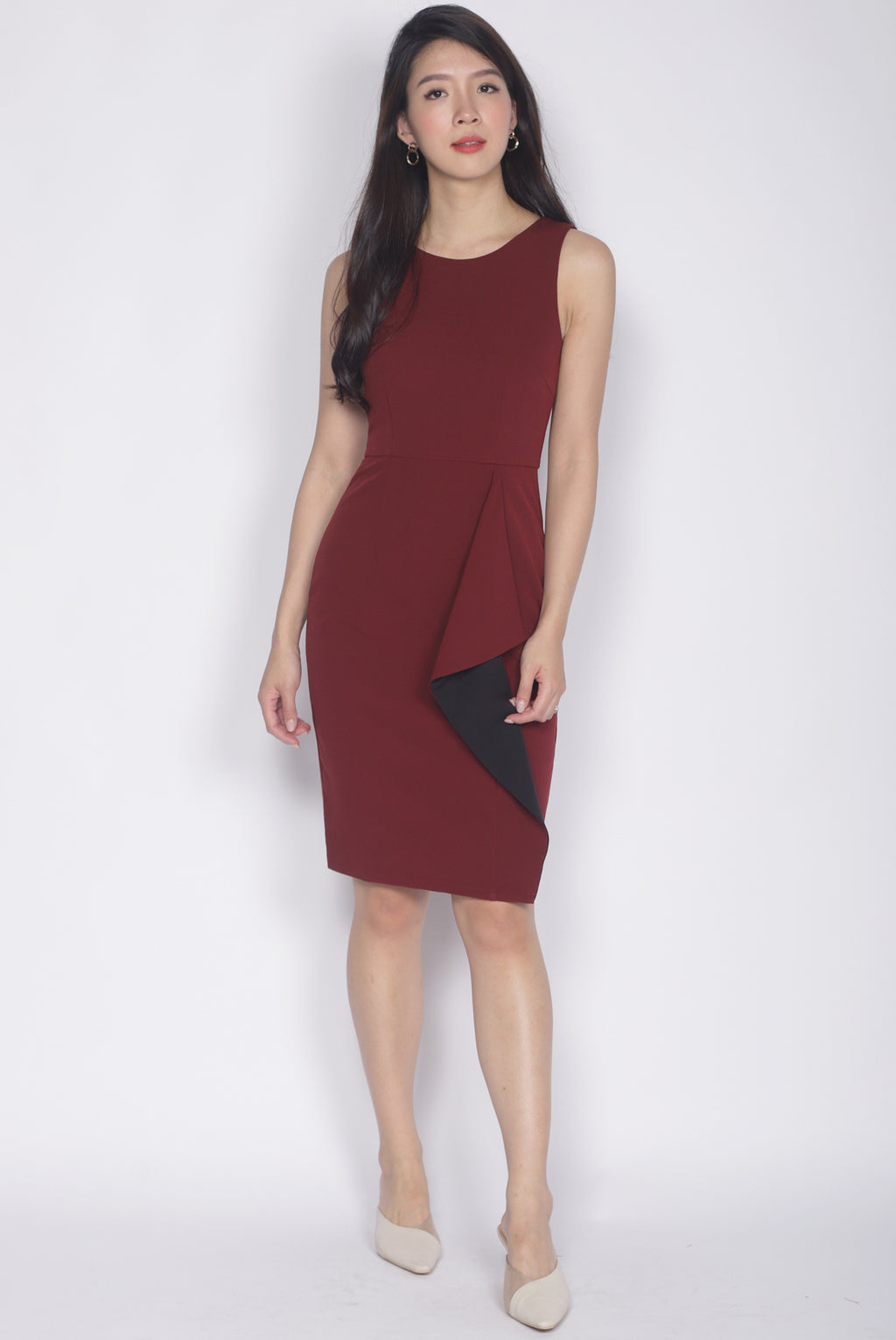 Ninette Waterfall Work Dress In Wine Red