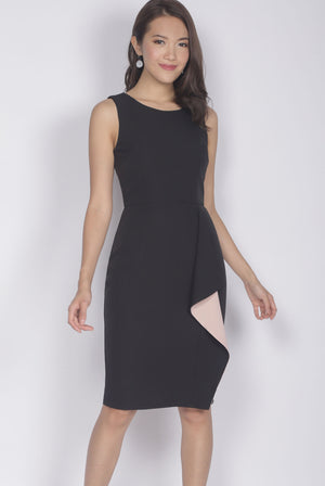 [Exclusive] Ninette Waterfall Work Dress In Black