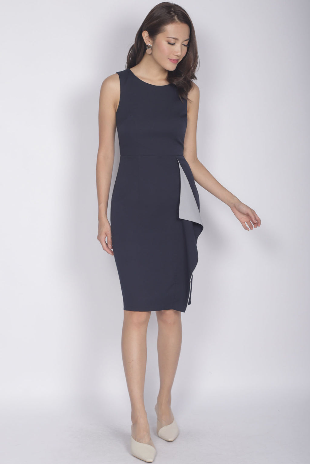 [Exclusive] Ninette Waterfall Work Dress In Navy Blue