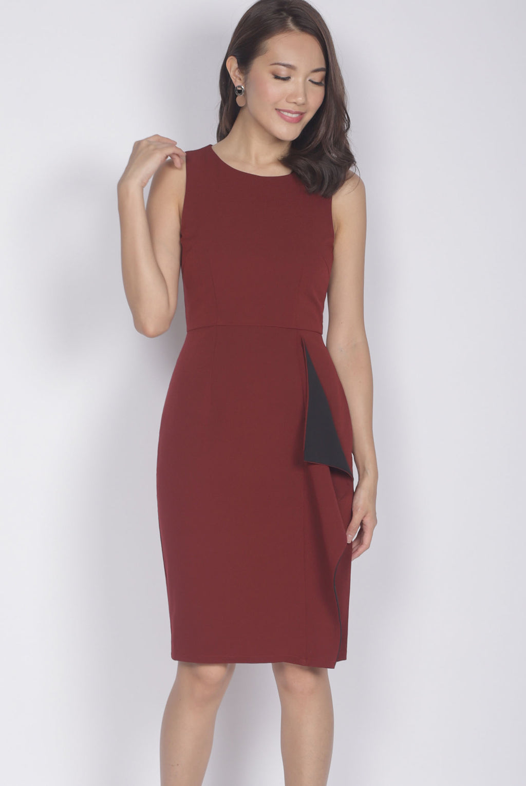 [Exclusive] Ninette Waterfall Work Dress In Wine Red