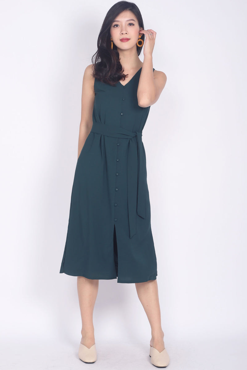 Noralyn Buttons Midi Slit Dress In Forest Green