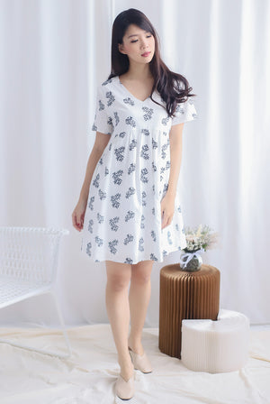 Norie Embro Babydoll Dress In White