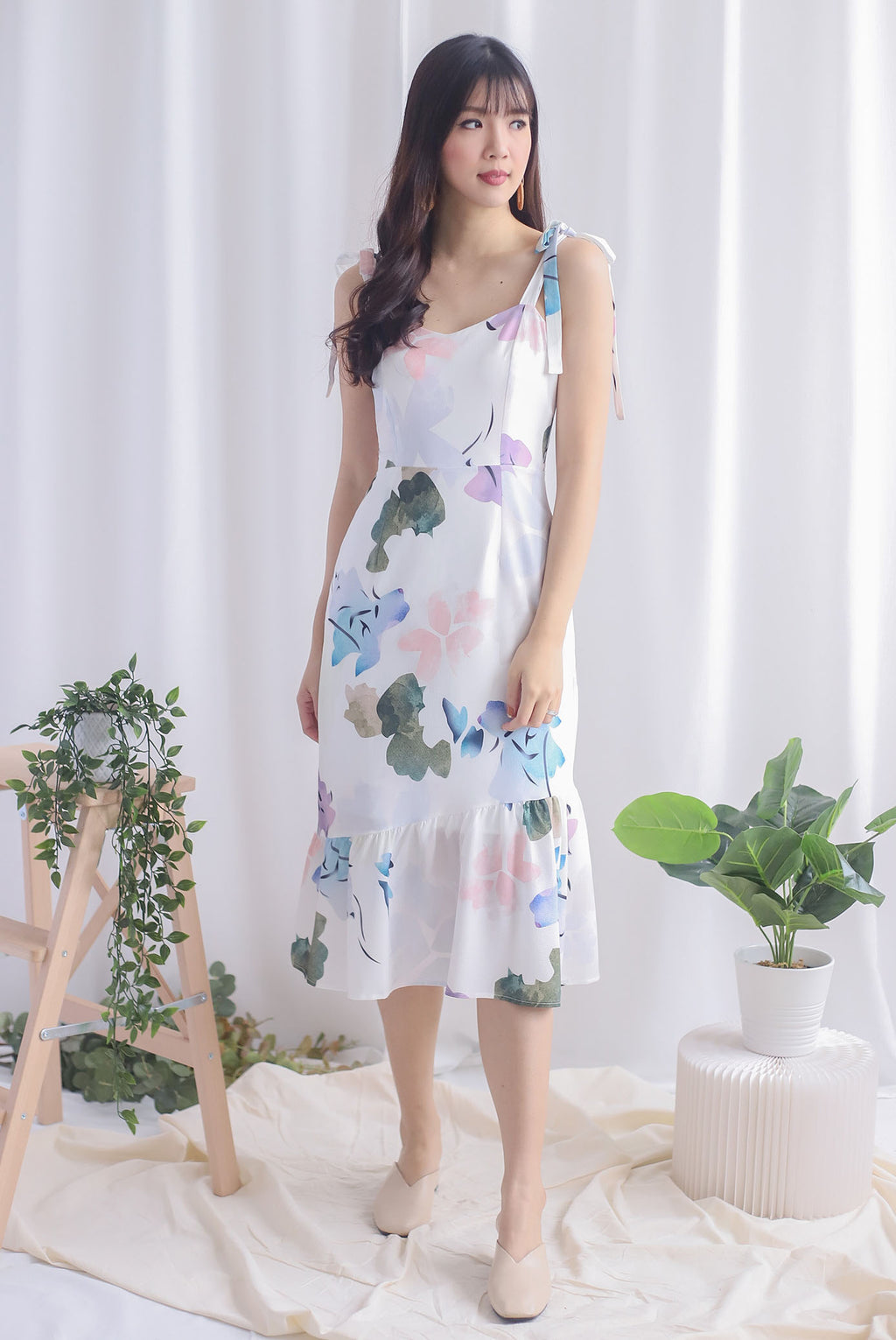 Novalee Floral Tie Shoulder Dress In Purple Blue