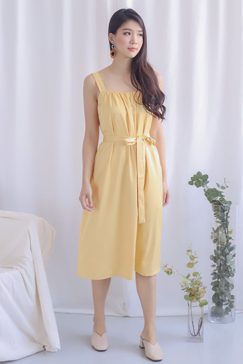 Nyota Gathered Dress In Yellow