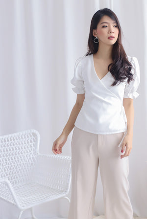 Oaklee Puffy Sleeve Wrap Top In White
