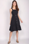 Odell Buttons Drop Hem Dress In Black