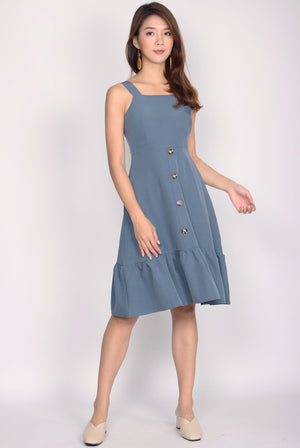 Odell Buttons Drop Hem Dress In Blue