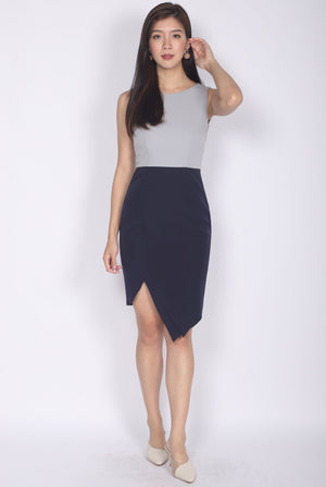 Odetta Origami Pleated Slit Dress In Grey/Navy