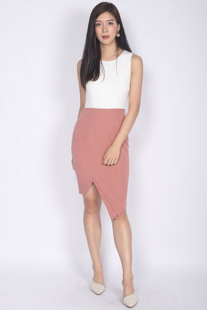Odetta Origami Pleated Slit Dress In White/Pink