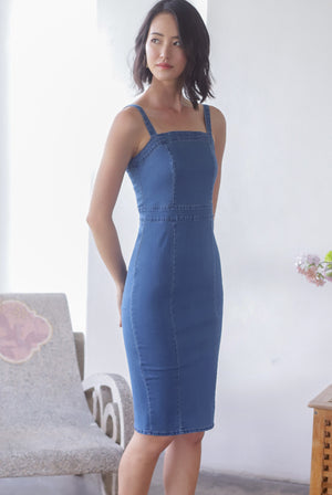 *Premium* Odyssey Denim Strap Dress In Dark Wash