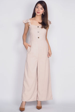 Olabisi Ruffle Sleeve Jumpsuit In Wheat