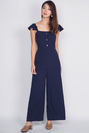 Olabisi Ruffle Sleeve Jumpsuit In Navy Blue