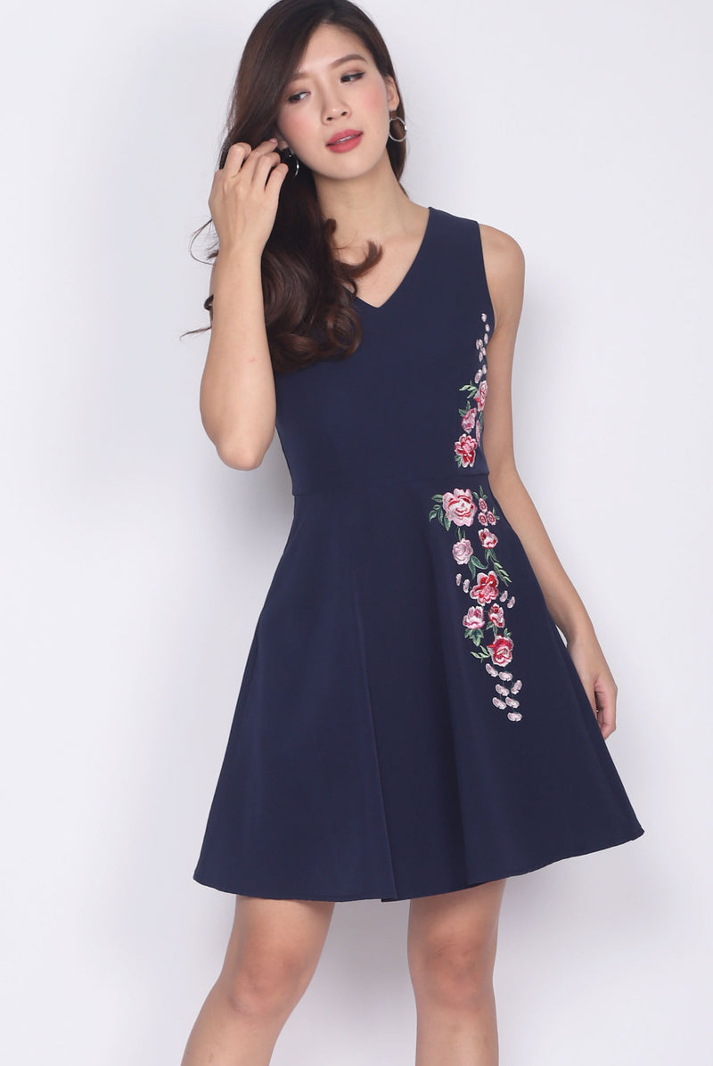 Olgea Floral Embro Flare Dress In Navy Blue