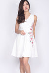 Olgea Floral Embro Flare Dress In White
