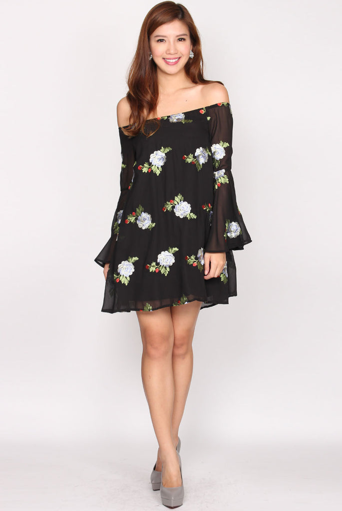 Olivia Embroidery Floral Off Shoulder Dress In Black