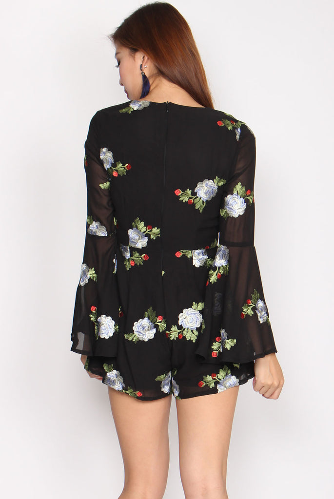 Olivia Embroidery Floral Romper In Black