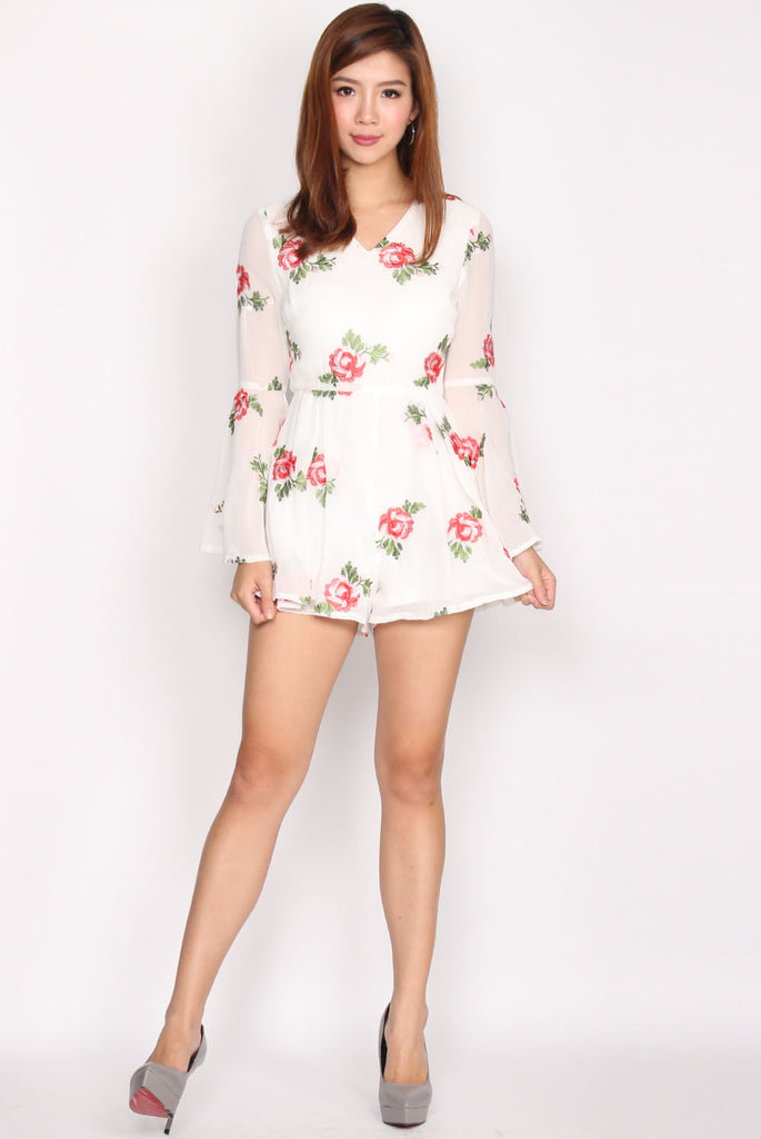 Olivia Embroidery Floral Romper In White