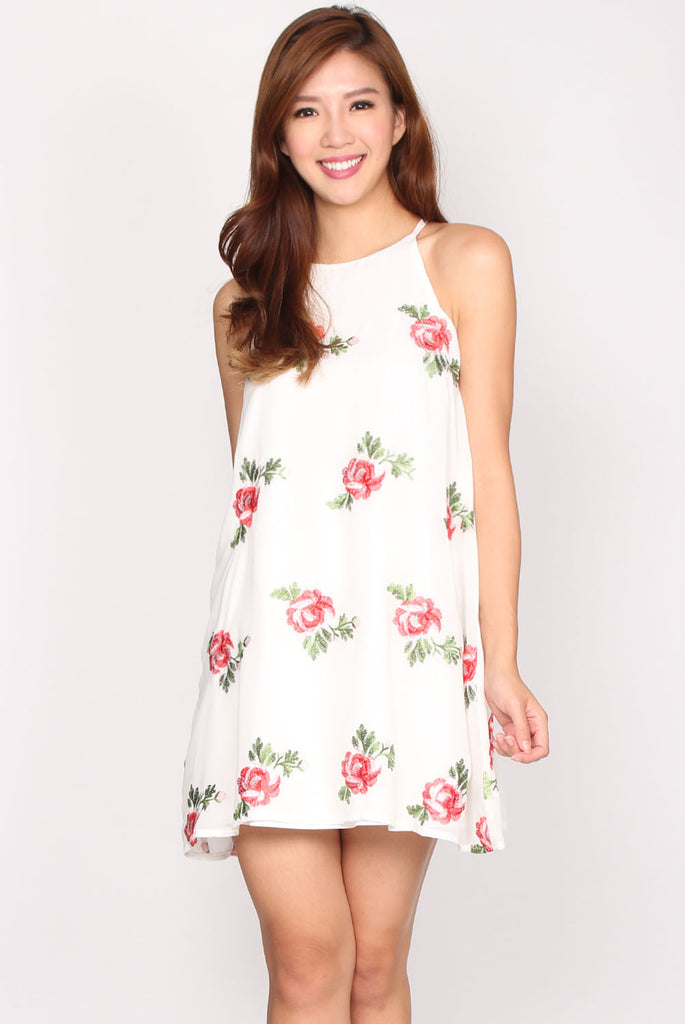 Olivia Embroidery Floral Trapeze Dress In White