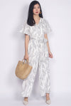 Ollie Stem Flutter Sleeve Jumpsuit In White