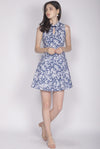 Onari Porcelain Cheongsam Dress In Navy Blue