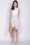 Ondrea Crochet Colour Block Dress In White/Grey