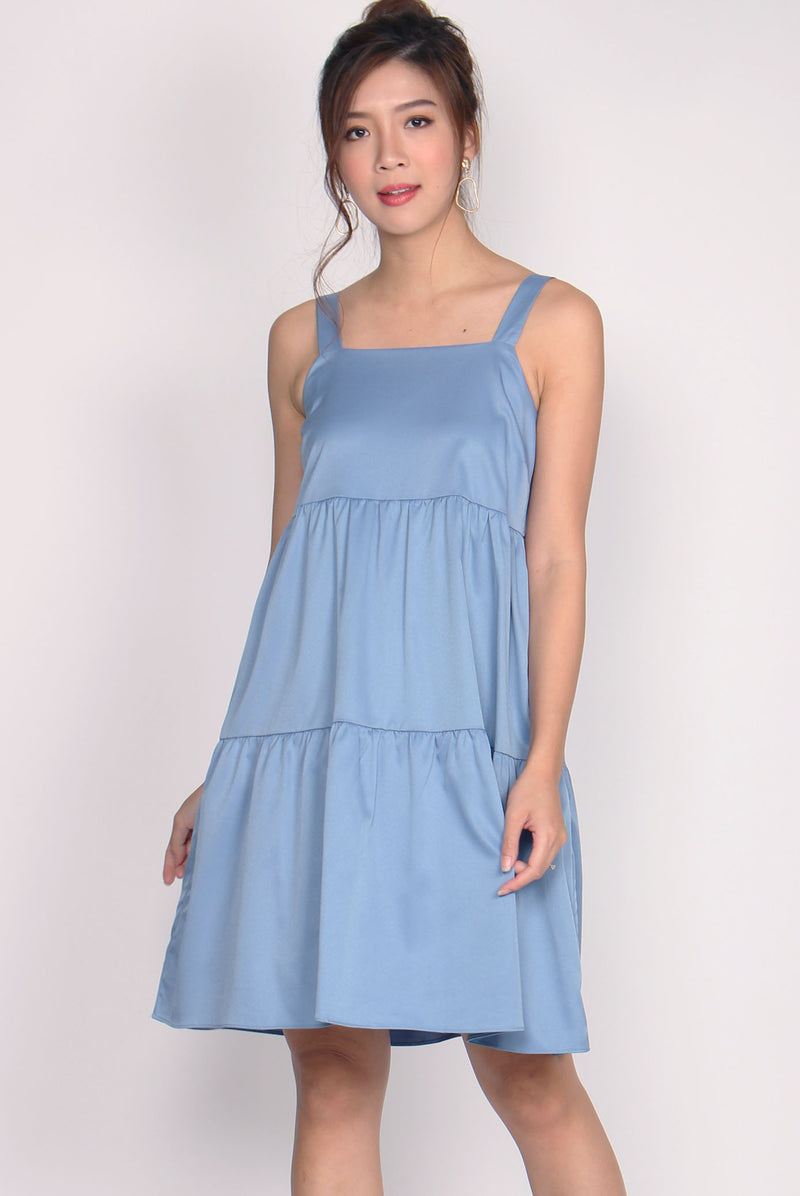 Opel Tiered Babydoll Dress In Blue