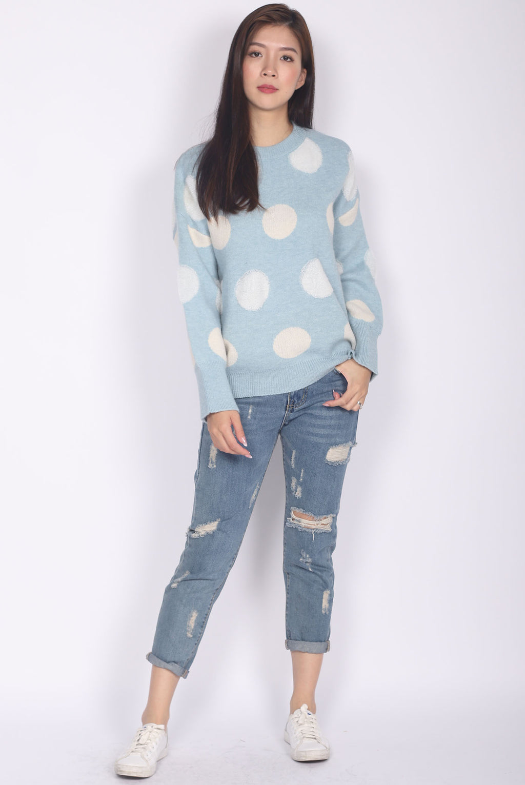 Ora Dots Knit Throwover In Blue