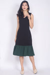 Oralie Colour Block Drop Waist Dress In Black/Green