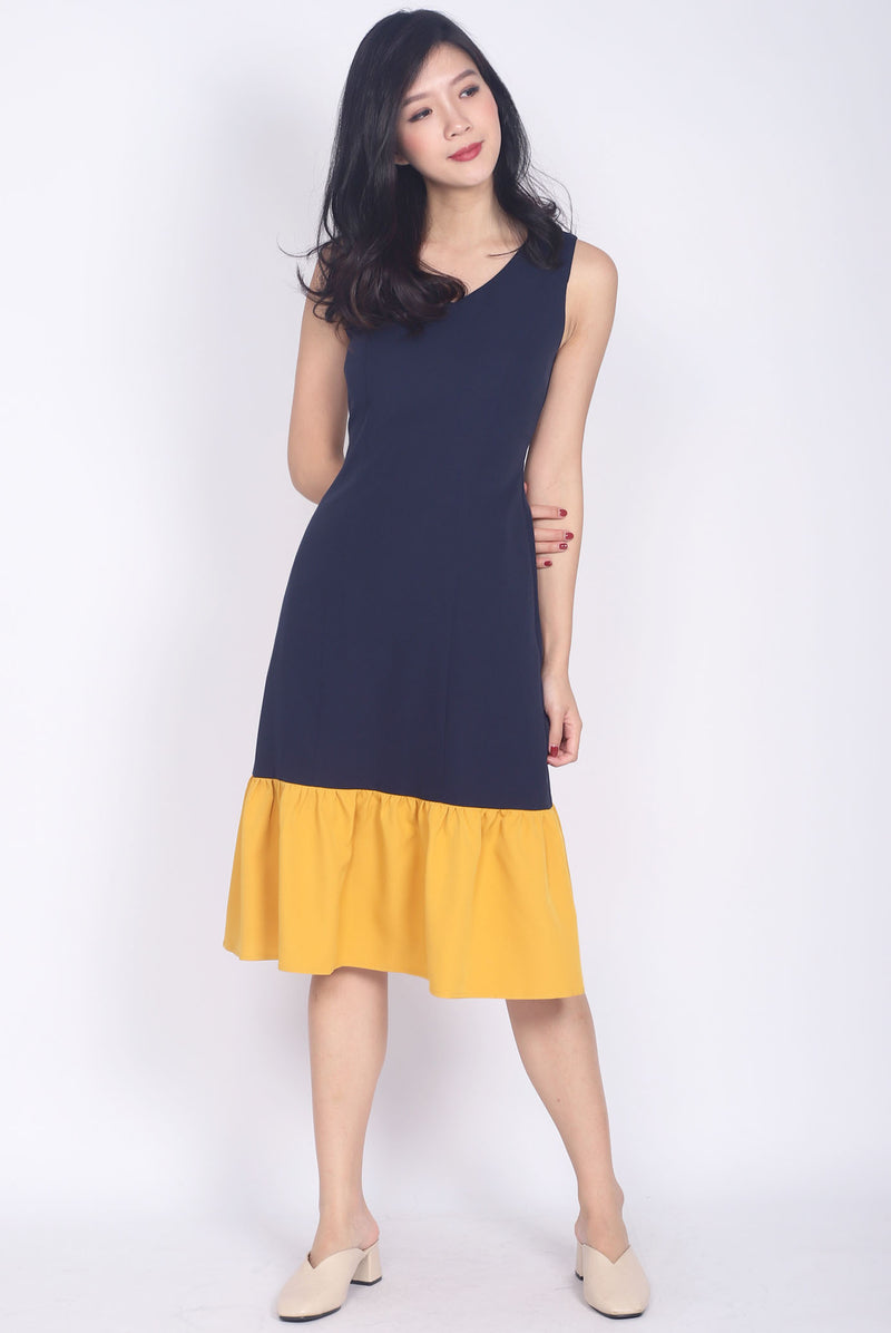 Oralie Colour Block Drop Waist Dress In Navy/Mustard