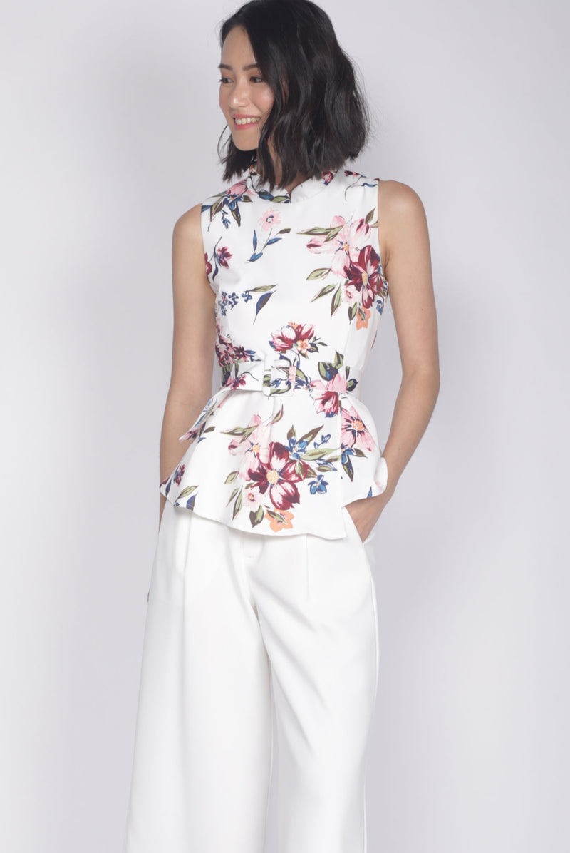 Oriole Peplum Belted Top In White