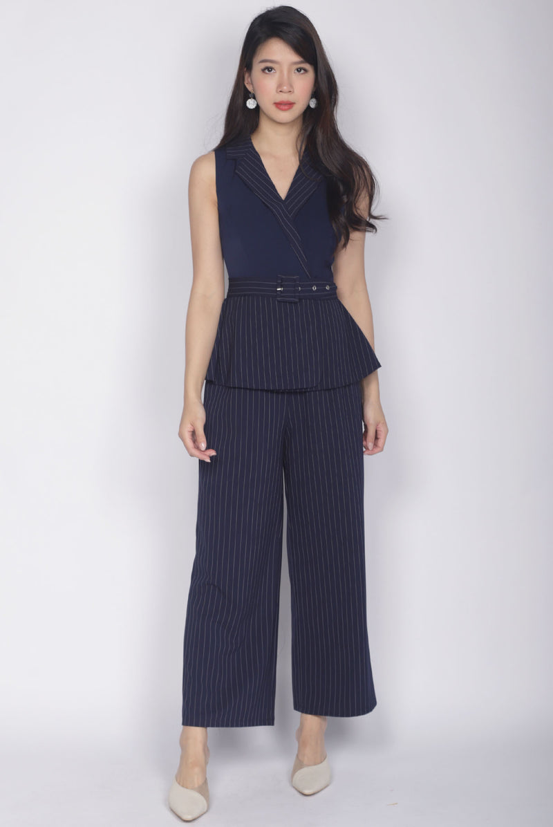 *Premium* Orion Stripes Peplum Jumpsuit In Navy Blue