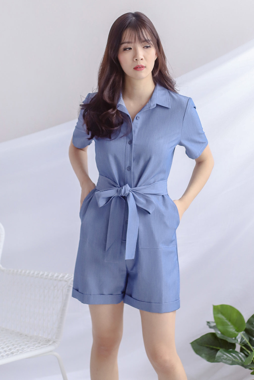 Orsola Shirt Romper In Denim Blue