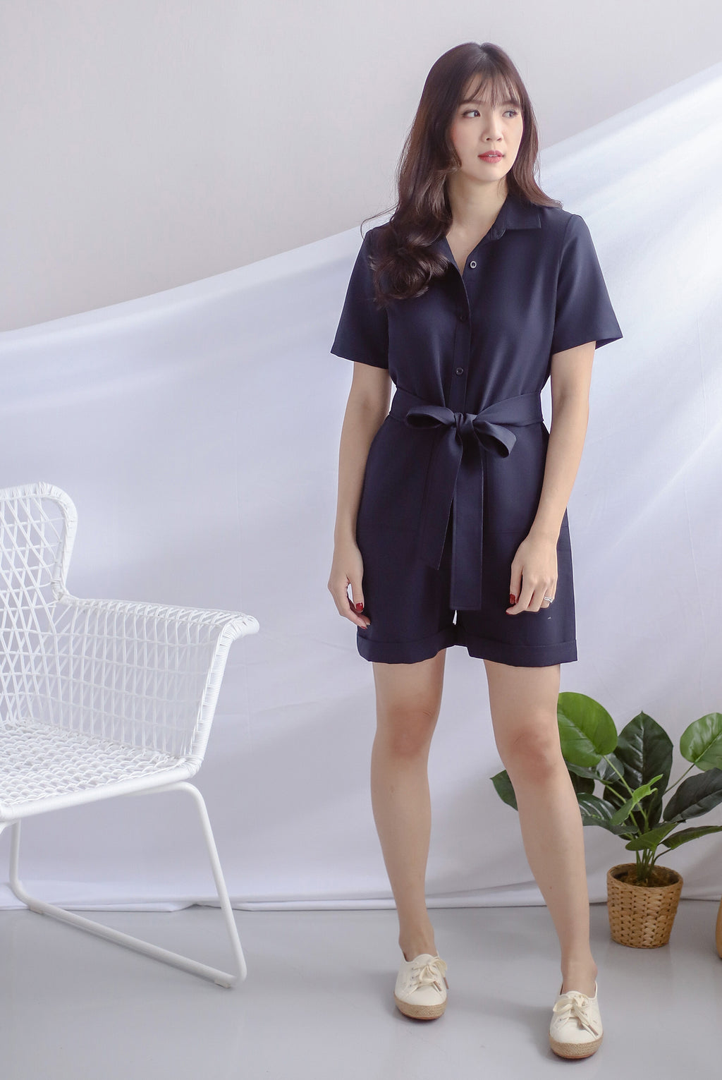 Orsola Shirt Romper In Navy Blue