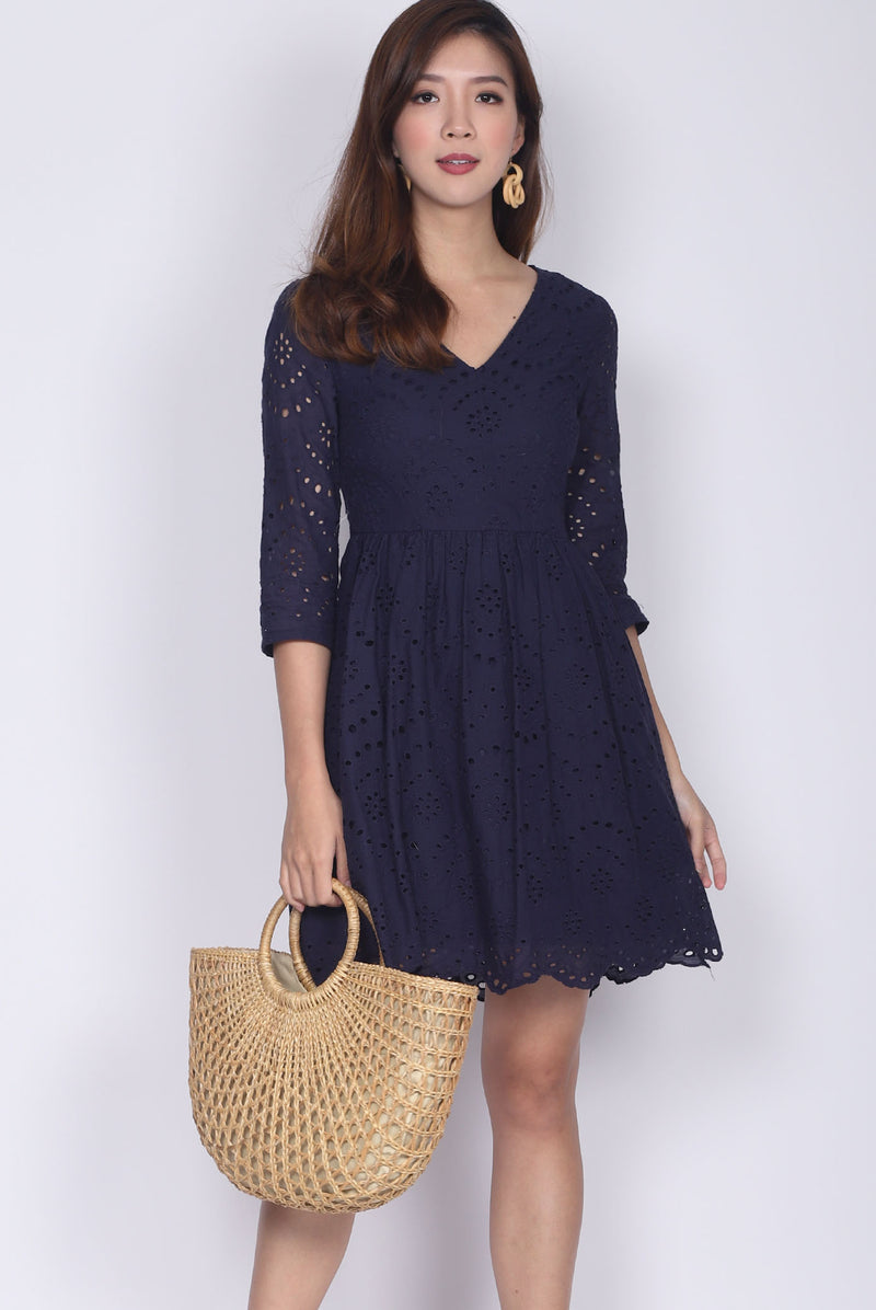 Oswin Eyelet Sleeved Dress In Navy Blue