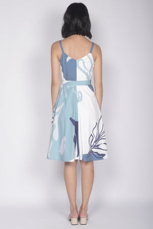 Paige Abstract Flare Dress In White/Blue