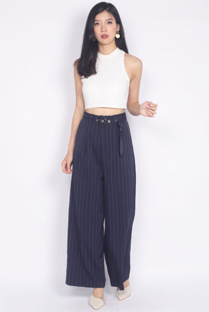 Palazzo Buckle Pants In Navy Blue