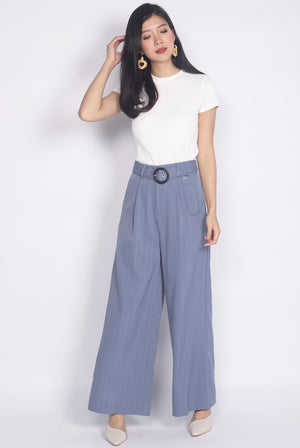 Palazzo Buckle Pants In Periwinkle