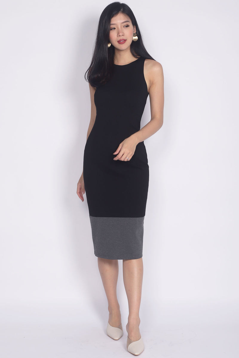 Palmira Colour Block Midi Pencil Dress In Black/Grey