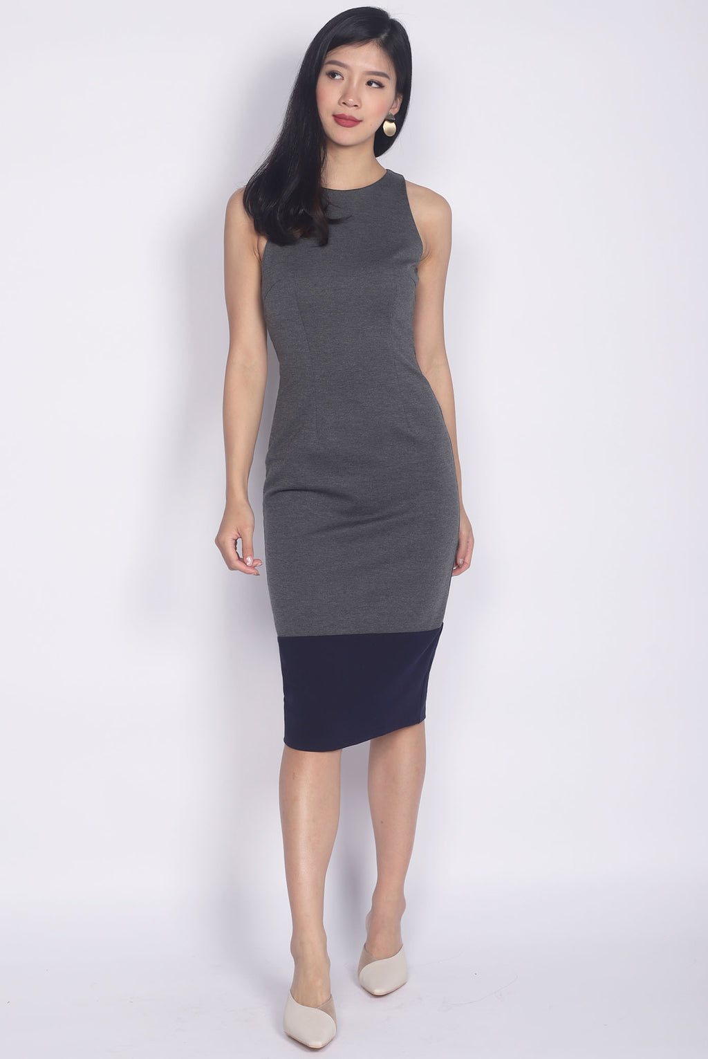 Palmira Colour Block Midi Pencil Dress In Grey/Navy