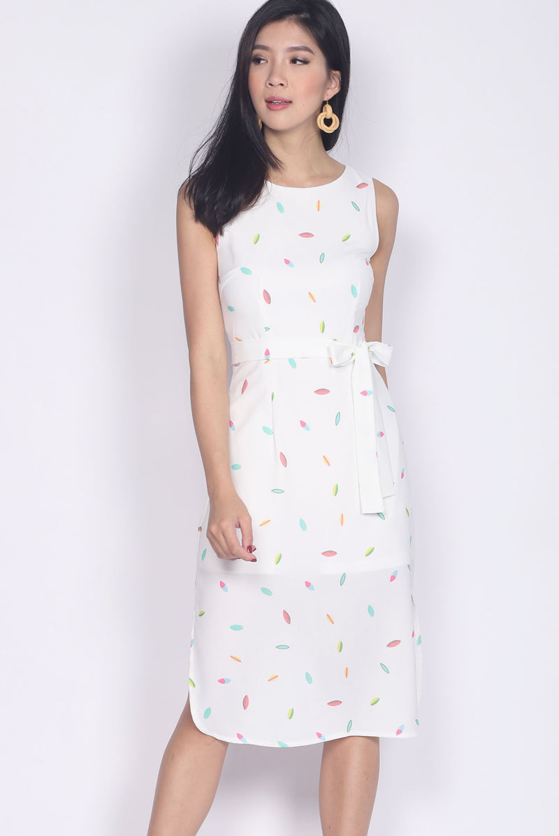 Pandira Curve Slit Cut Dress In Rainbow White