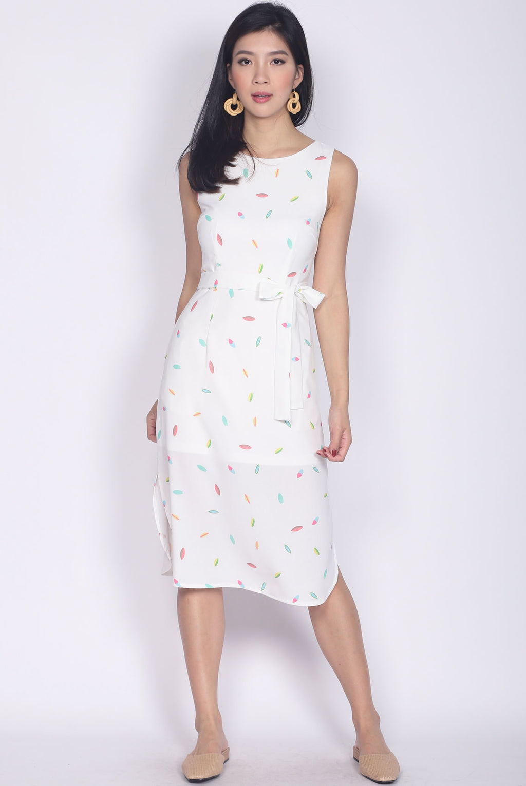 *Backorder* Pandira Curve Slit Cut Dress In Rainbow White